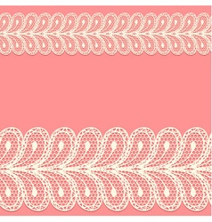 Two lacy borders on pink background vector