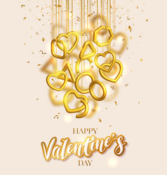 valentines day greeting card design with hanging vector image