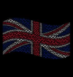 Waving united kingdom flag mosaic of sinusoid wave vector