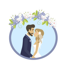 Wedding photo man and woman in round frame vector