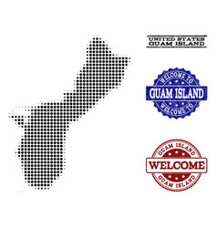 Welcome composition of halftone map of guam island vector