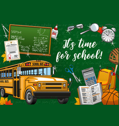 Welcome to school invitation bus and stationery vector