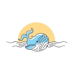 Whale line icon vector