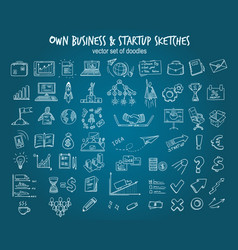 white hand drawn startup elements set vector image