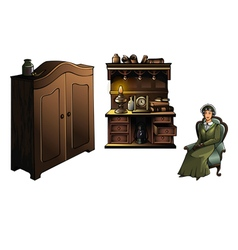 Woman with furniture vector