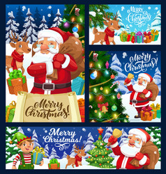 xmas banners santa elf and reindeer with gifts vector image