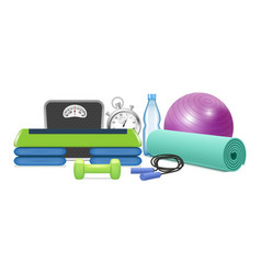 Yoga and fitness equipment realistic vector