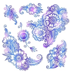 Blue hand-drawn flowers set vector image