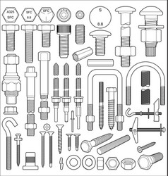 Bolt nut and screw set vector