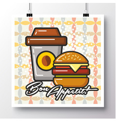 food icons poster on a vintage pattern vector image vector image