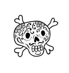 hand drawn doodle skull vector image vector image