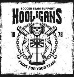 hooligan skull in hoodie emblem vector image