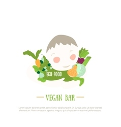 Organic food logo with boy and vegetables design vector image vector image