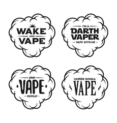 Vape related t-shirt vintage designs set Quotes vector image