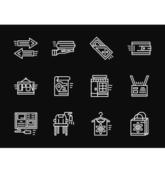 White simple line online shopping icons vector image vector image