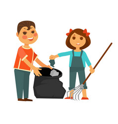 boy and girl take away rubbish isolated vector image vector image