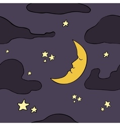 Cartoon seamless night pattern vector image vector image