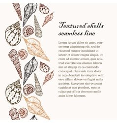 Doodle textured shells seamless line background vector image vector image