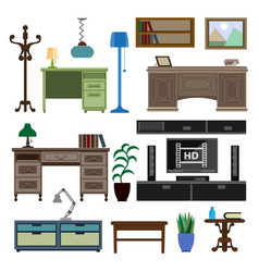 home room and workplace furniture pieces and vector image vector image