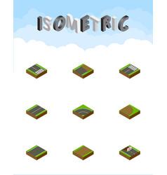 isometric way set of bitumen footer unfinished vector image vector image
