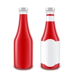 Red Ketchup Bottle for Branding without with Label vector image vector image