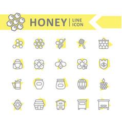 set of honey line icons bee honeycomb vector image