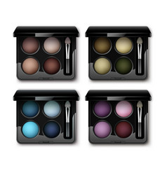 set of multicolored eye shadows in case applicator vector image