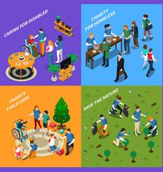 volunteer charity people icon set vector image