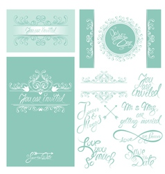 wedding invitation set 3 380 vector image