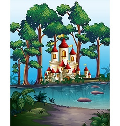 Castle towers in the forest vector image vector image