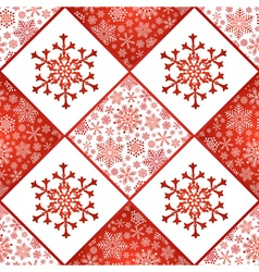 Checkered seamless pattern with snowflakes vector image vector image