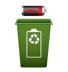dead battery green recycle bin vector image vector image