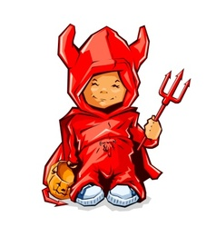 little boy in demons costume vector image vector image