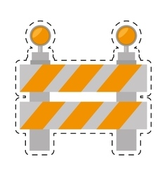 Road barrier stop warning light cut line vector