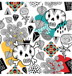 seamless pattern with doodle skulls and romantic vector image
