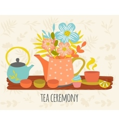 Tea Ceremony Hand Drawn Design vector image vector image