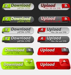upload and download button set vector image vector image