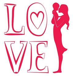 Young mother with baby one red color vector image vector image