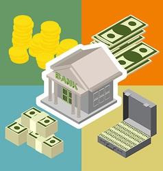 bank isometric icons vector image vector image