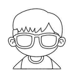 cute boy with sunglasses cartoon vector image