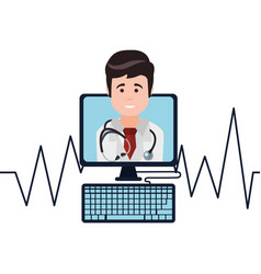 doctor monitoring heart pulse vector image