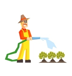 Man Watering The Garden Bed With Hose vector image
