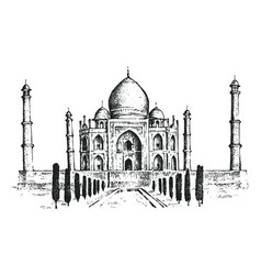 taj mahal an ancient palace in india landmark or vector image
