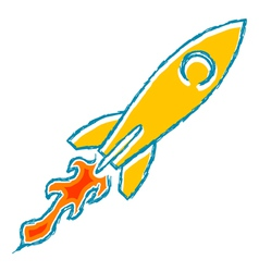 The sketch Launch rockets with the flame vector image