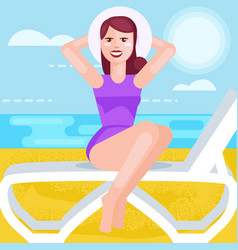 woman in hat and bathing suit at sea vector image vector image