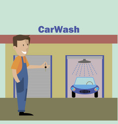 working at the car wash washes the car vector image
