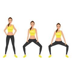 young woman make squats exercises with hands on vector image vector image