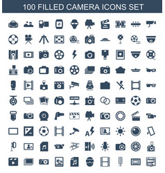 100 camera icons vector