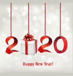 2020 new years background with gift box and red vector