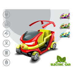 3d electric car with removable roof and icons vector image